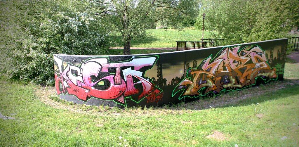 Kosta and Zare Graffiti in a Park 2015