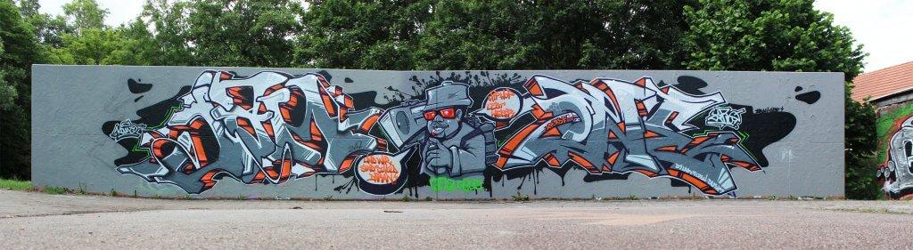 Jam One Graffiti von Kans, Kosta und Zare in Bad Salzungen 2017