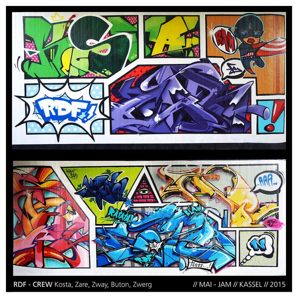 Graffiti in Kassel - 1. Mai Jam 2015 by RDF Crew